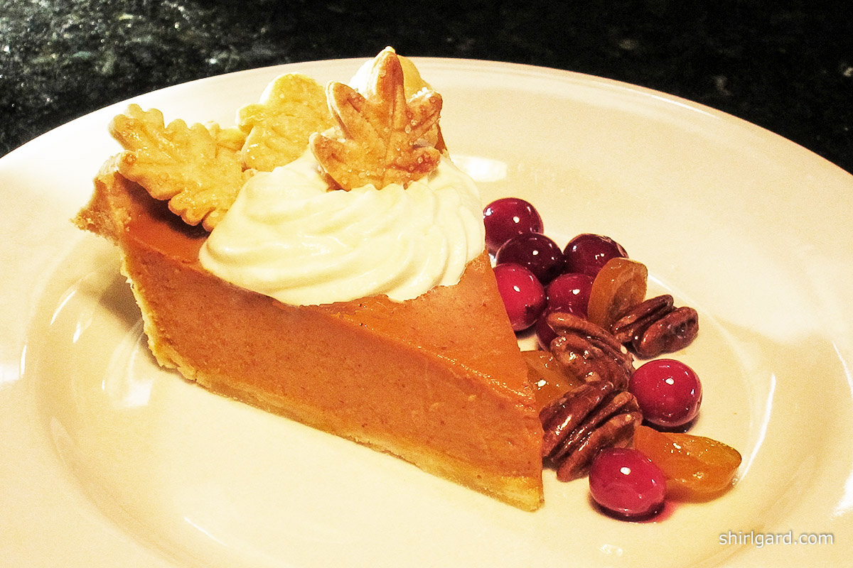 Pumpkin Pie Plated with Garnishes