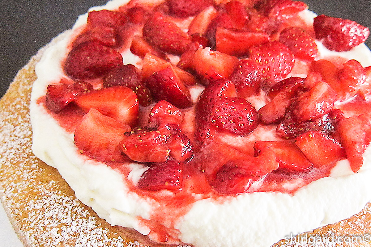 Top view of Creamy White Strawberry Shortcake