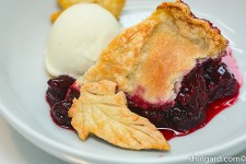 Blackberry Cobbler plated with Vanilla Ice Cream